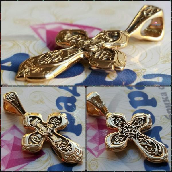Крест Православный восьмиконечный  из розового золота с чернением
