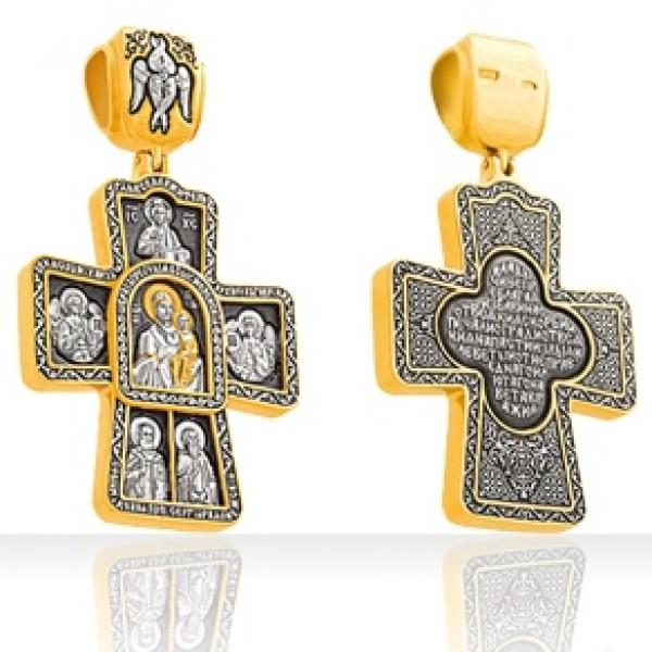 8481, Крест Старославянский из желтого золота с молитвой, 2278, 50 400.00 р., 2278, , 3D Модели Православных нательных крестов