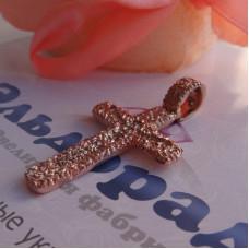 Православный нательный крест с ажурной поверхностью из розового золота