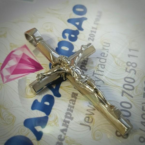 Православный нательный крест с распятием и намоткой из серебра