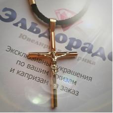 Православный нательный крест с распятием из комбинированного золота