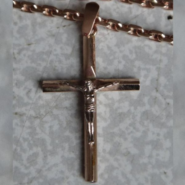 Распятье Православное из красного золота с бриллиантами и сапфиром