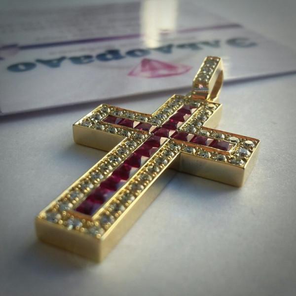 4, Крест Католический из желтого золота с рубинами и бриллиантами, 10084, 144 000.00 р., 10084, ,