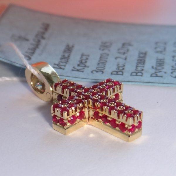 3, Крест Католический из желтого золота с рубинами, 3480, 74 080.00 р., 3480, ,