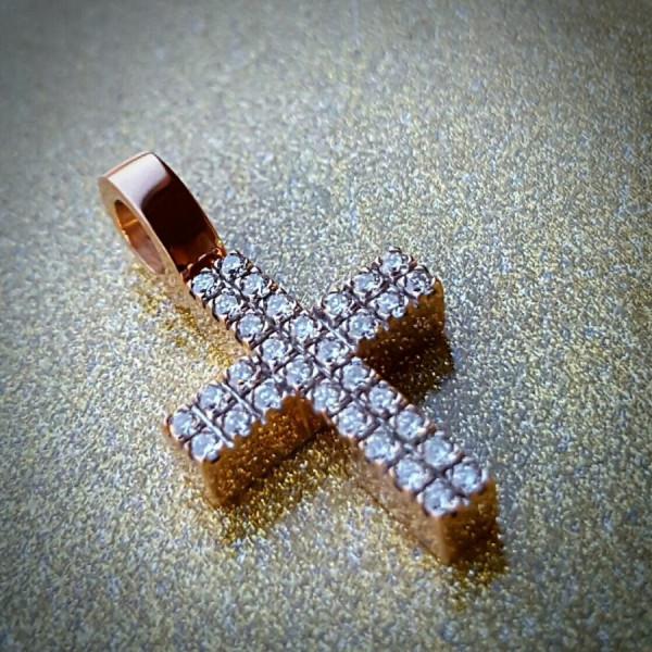 6, Крест Католический из розового золота с бриллиантами, 10913, 67 700.00 р., 10913, ,